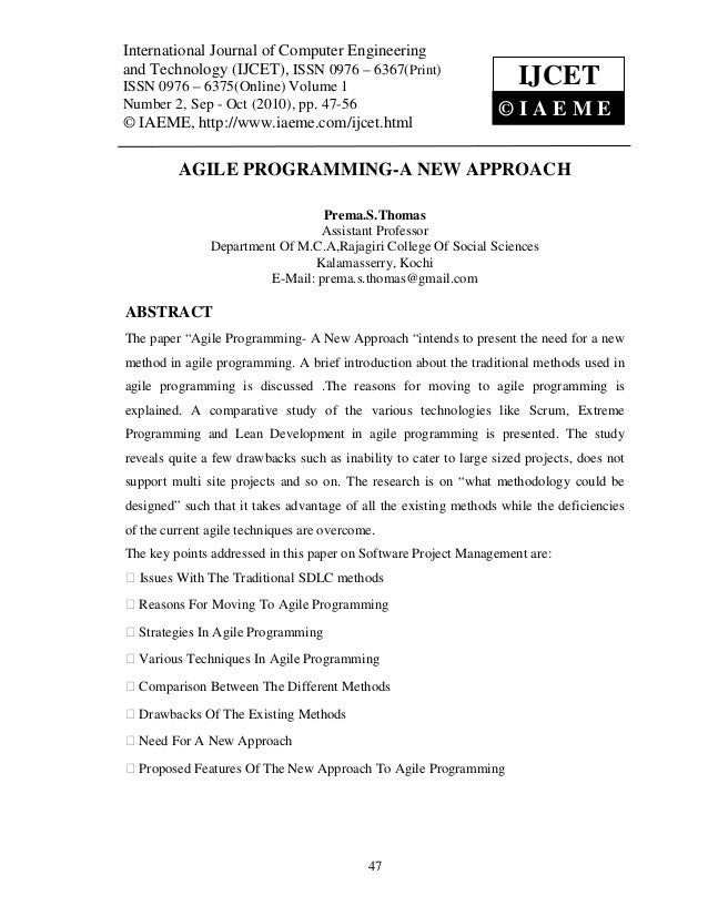 Agile programming a new approach