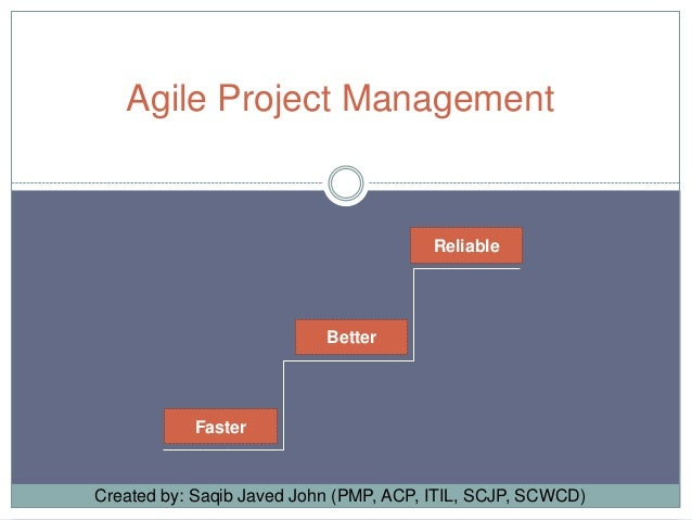 Agile Project Management  Reliable  Better  Faster  Created by: Saqib Javed John (PMP, ACP, ITIL, SCJP, SCWCD)