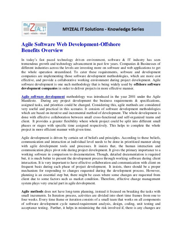 Agile software web development offshore benefits overview