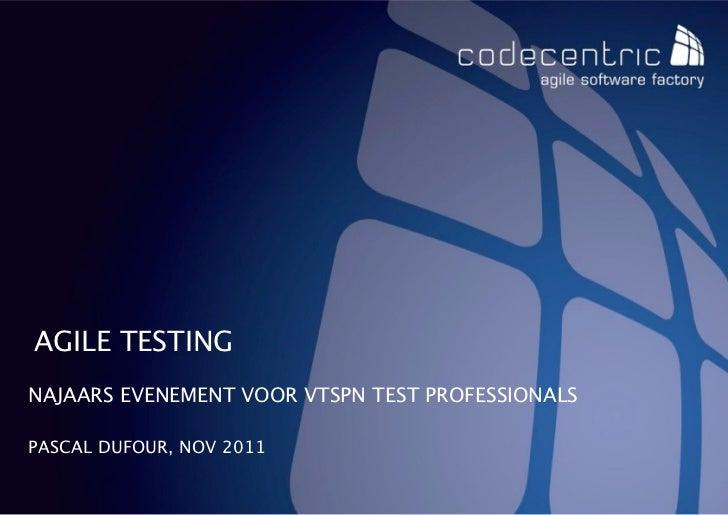 AGILE TESTINGNAJAARS EVENEMENT VOOR VTSPN TEST PROFESSIONALSPASCAL DUFOUR, NOV 2011   CODECENTRIC AG