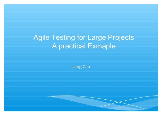 Agile Testing for Large Projects A practical Exmaple Liang Gao