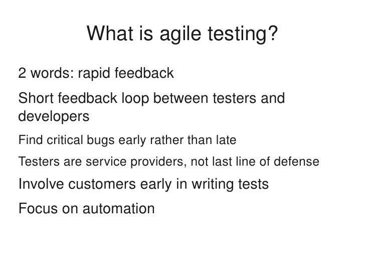 Testing Feedback Loop Feedback Loop Between