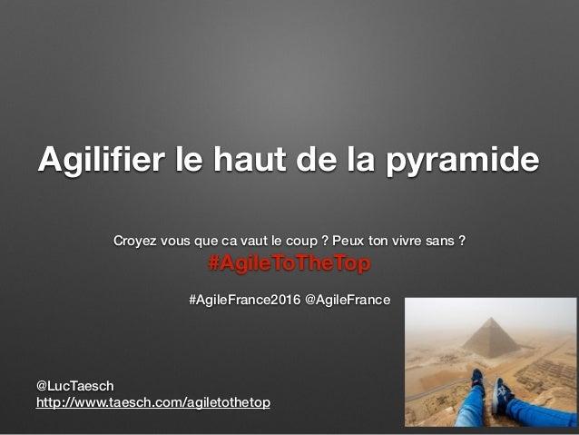 Agilifier le haut de la pyramide Croyez vous que ca vaut le coup ? Peux ton vivre sans ? #AgileToTheTop #AgileFrance2016 @A...