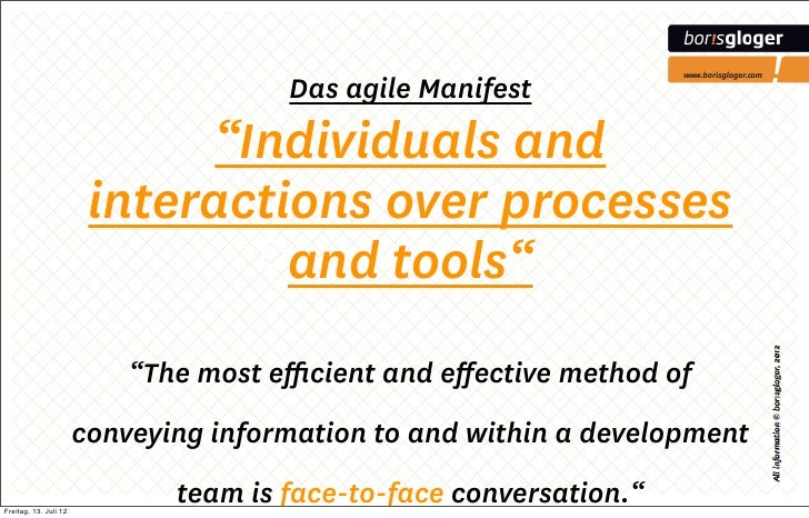 "Das agile Manifest                             ""Individuals and                        interactions over processes        ..."