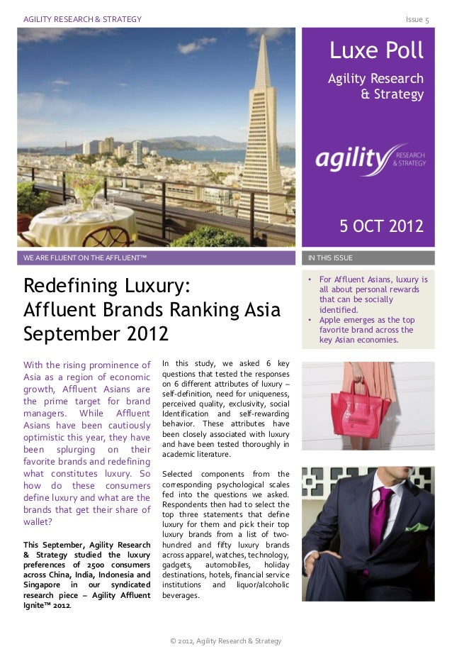 Defining Luxury - How do Asian Affluents Define Luxury - and Which Brand is Most Luxe?