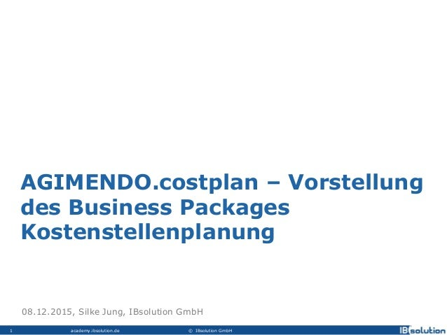 academy.ibsolution.de © IBsolution GmbH1 AGIMENDO.costplan – Vorstellung des Business Packages Kostenstellenplanung 08.12....