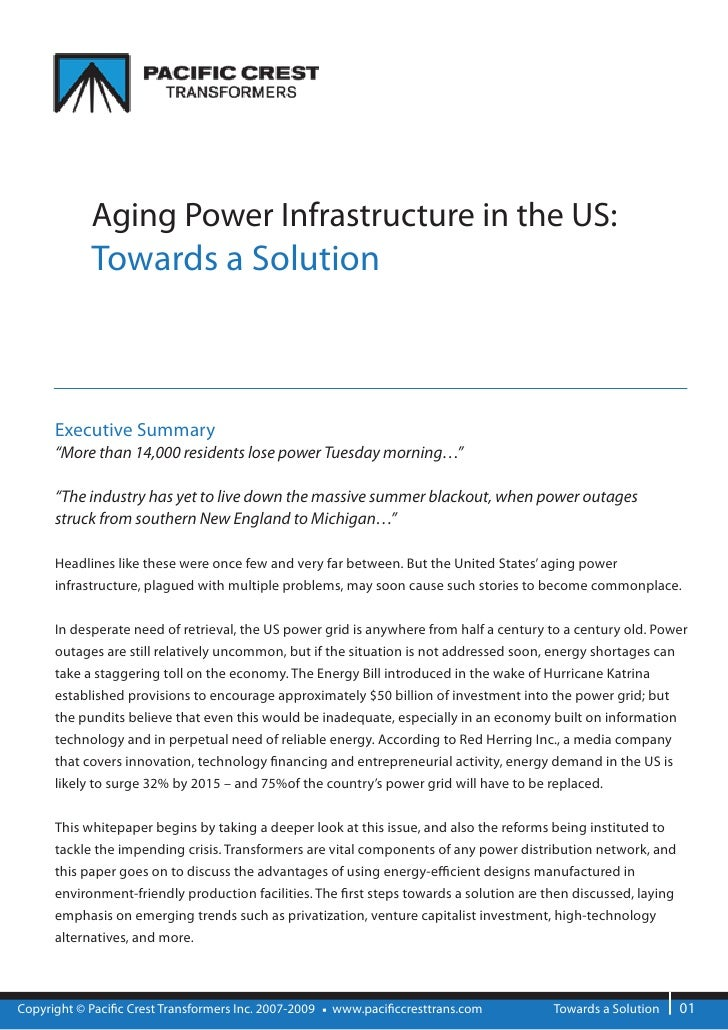 """Aging Power Infrastructure in the US:             Towards a Solution          Executive Summary       """"More than 14,000 re..."""