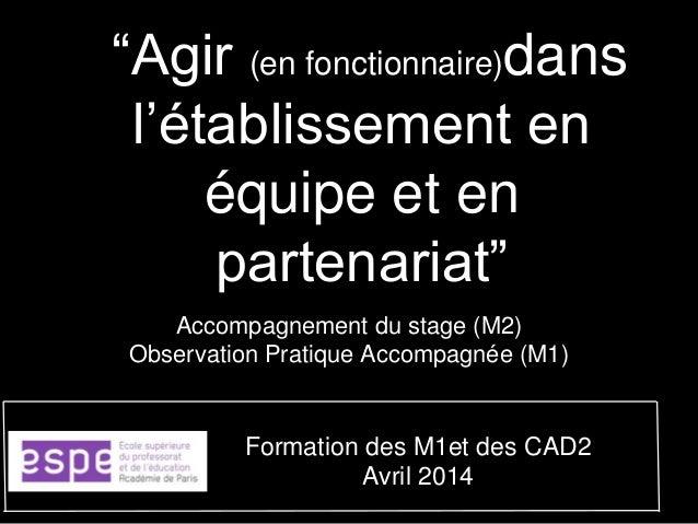 """""""Agir (en fonctionnaire)dans l'établissement en équipe et en partenariat"""" Accompagnement du stage (M2) Observation Pratiqu..."""