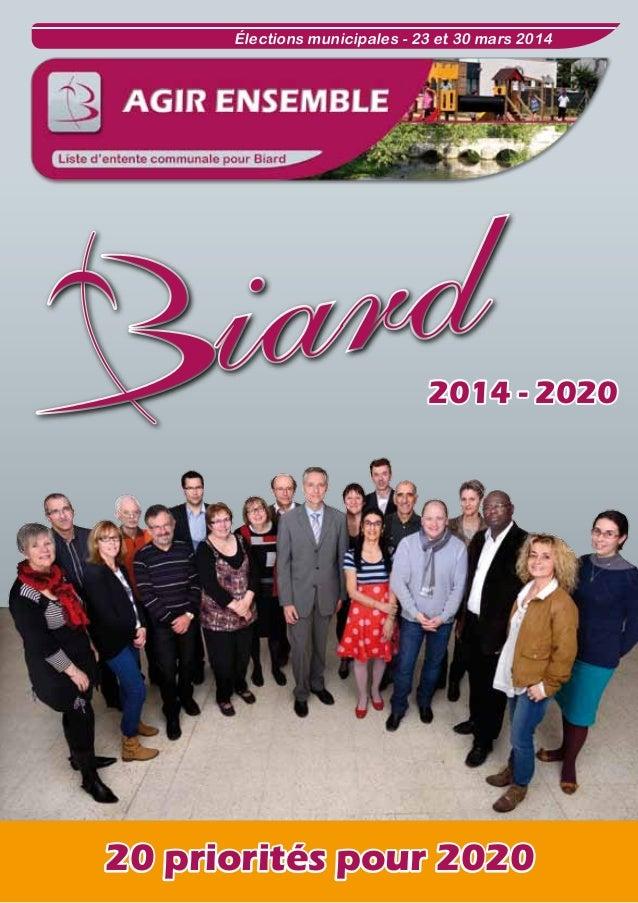 Élections municipales - 23 et 30 mars 2014  ard i d r a  2008 -  2014 - 2020  20 priorités pour 2020