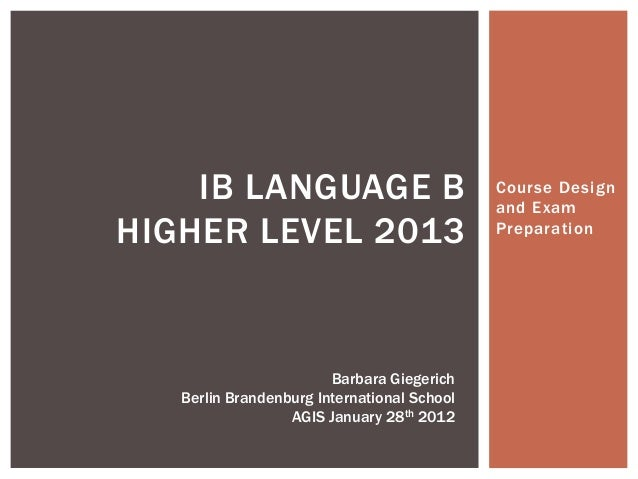 IBDP German B course overview