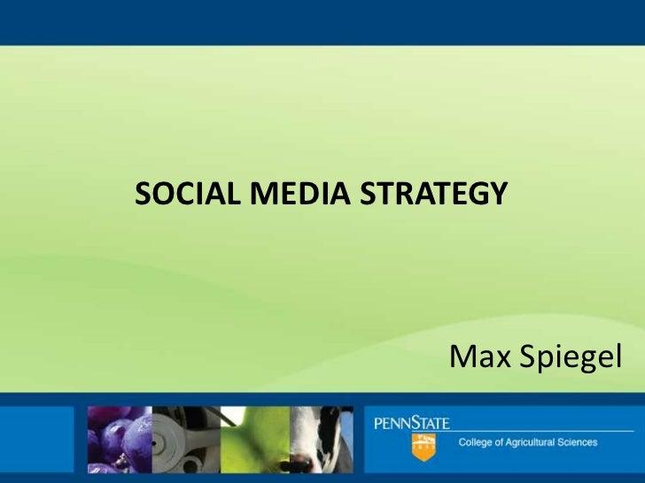 social media Strategy<br />Max Spiegel<br />
