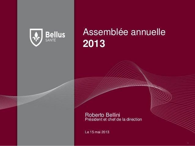 Assemblée annuelle2013Roberto BelliniPrésident et chef de la directionLe 15 mai 20131