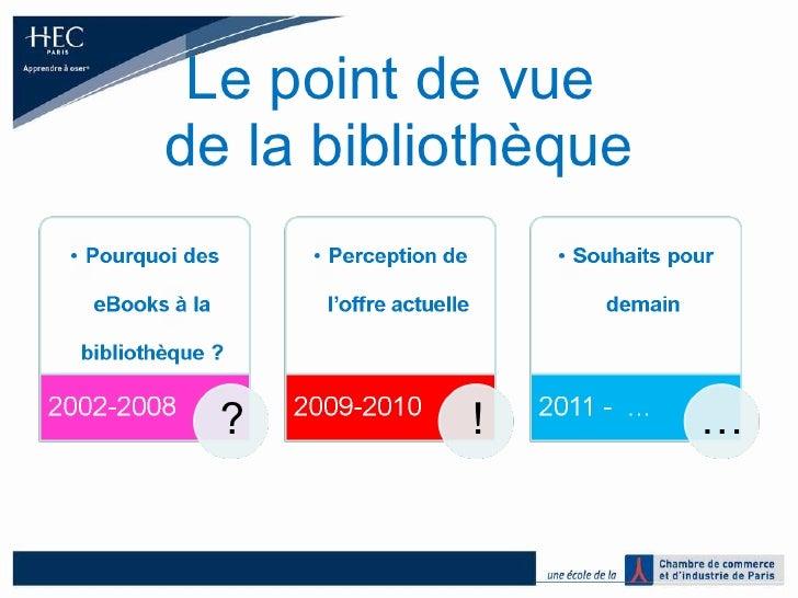 Agnès melot   le point de vue de la bibliothèque premiers retours d'expériences sur l'usage des e books à hec paris