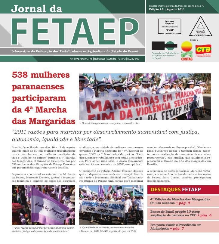 Jornal da FETAEP - Edição 93 - Agosto de 2011