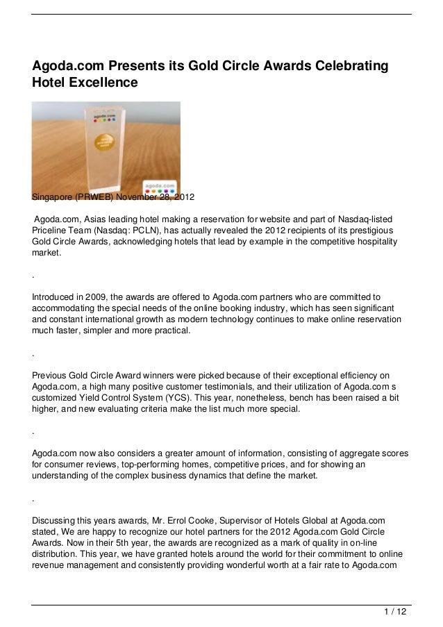 Agoda.com Presents its Gold Circle Awards CelebratingHotel ExcellenceSingapore (PRWEB) November 28, 2012Agoda.com, Asias l...