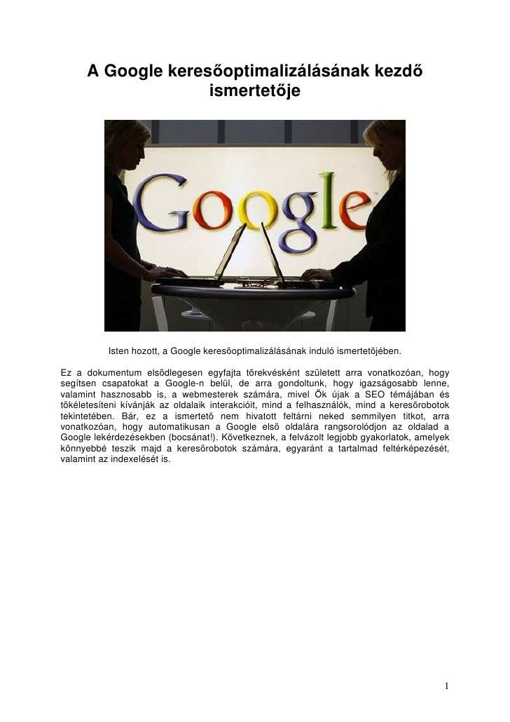 A Google KeresőOptimalizáLáSáNak Kezdő IsmertetőJe