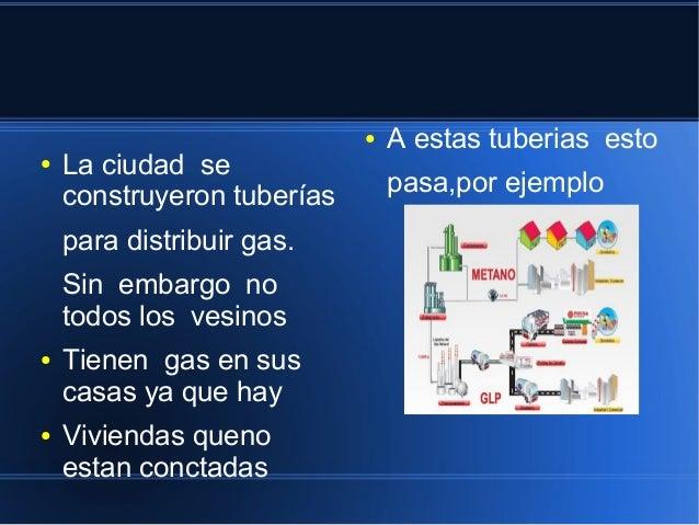 ● La ciudad se  construyeron tuberías  para distribuir gas.  Sin embargo no  todos los vesinos  ● Tienen gas en sus  casas...