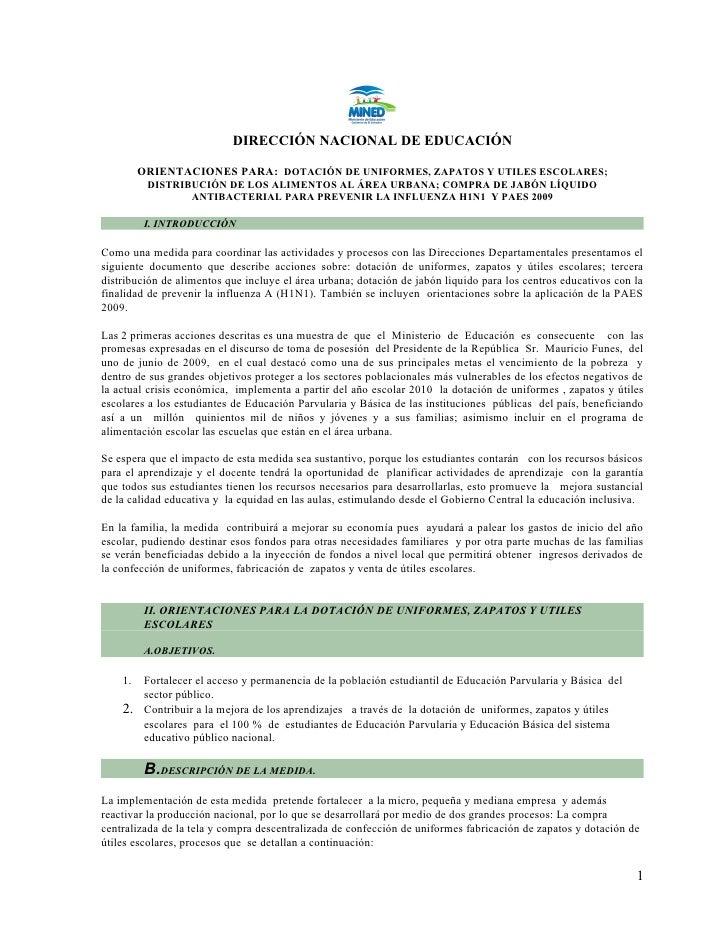 DIRECCIÓN NACIONAL DE EDUCACIÓN           ORIENTACIONES PARA: DOTACIÓN DE UNIFORMES, ZAPATOS Y UTILES ESCOLARES;          ...