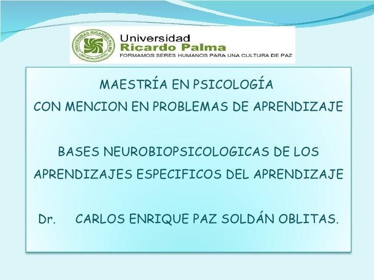 MAESTRÍA EN PSICOLOGÍA  CON MENCION EN PROBLEMAS DE APRENDIZAJE BASES NEUROBIOPSICOLOGICAS DE LOS APRENDIZAJES ESPECIFICOS...