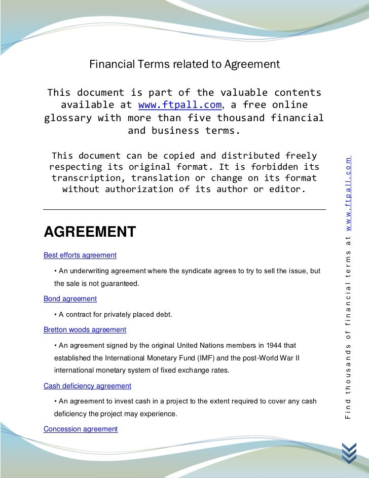 Financial Terms related to Agreement This document is part of the valuable contents   available at www.ftpall.com, a free ...
