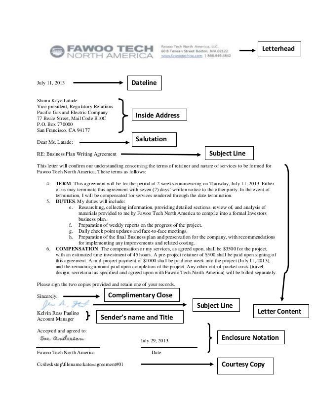 Agreement Letter Parts And Sample