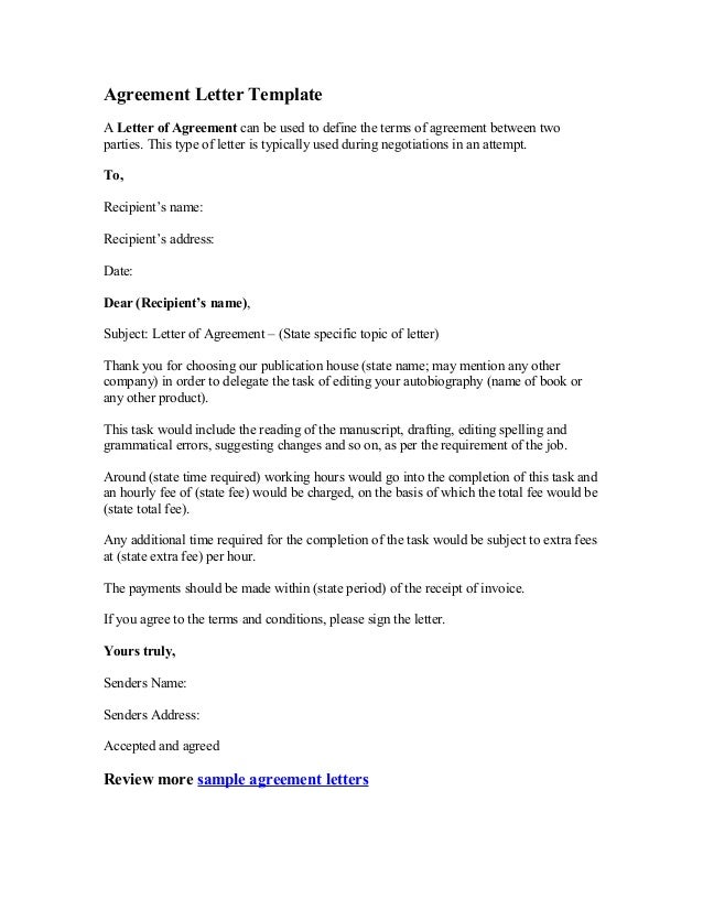 Letter Of Agreement Template | out-of-darkness