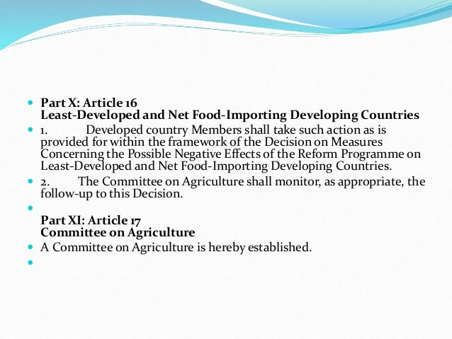 agricultural agreement within the wto framework Agricultural trade liberalization in the doha round:  own framework for agricultural negotiations in  also argues that an agreement within the wto is.