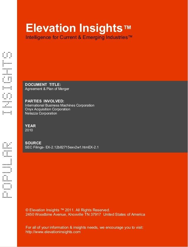 Elevation Insights™ | Agreement & Plan of Merger  ( IBM, Netezza )