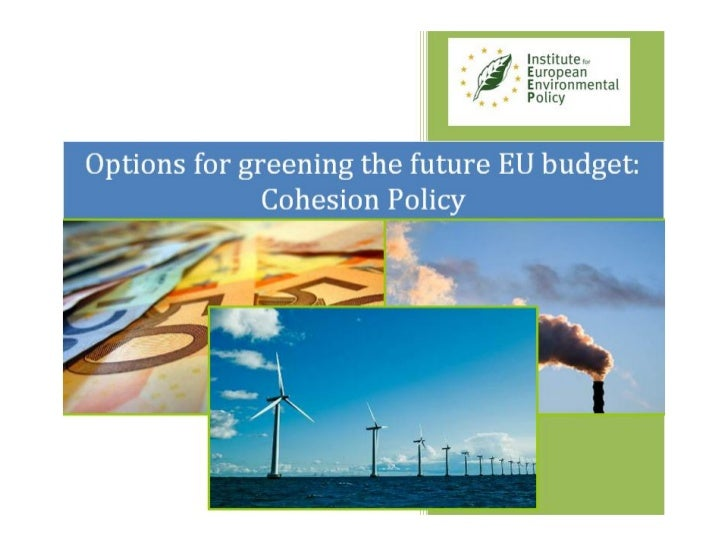 A Green Budget for Europe Cohesion Policy contributions by Patrick ten Brink of IEEP