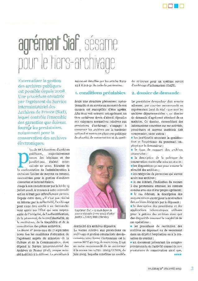 Agrément siaf interview de l'imprimerie nationale sur le tiers archivage-2013_04_15_archimag