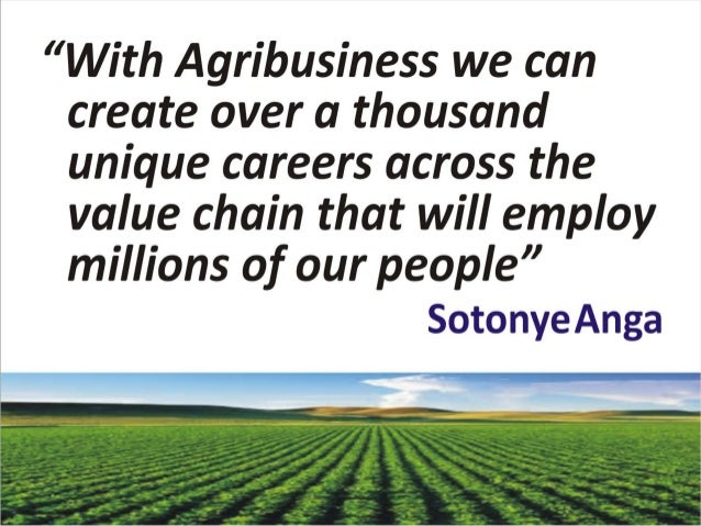 Agribusiness creating careers and jobs by sotonye anga