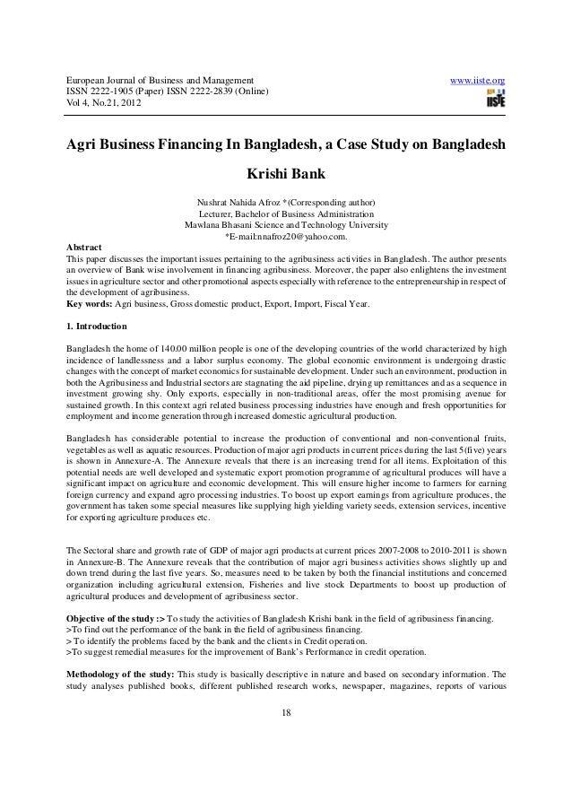 Agri business financing in bangladesh, a case study on bangladesh krishi bank