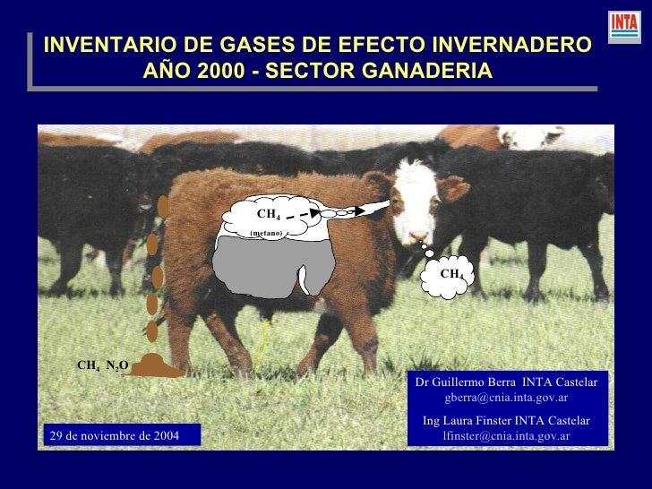 INVENTARIO DE GASES DE EFECTO INVERNADERO AÑO 2000 - SECTOR GANADERIA Dr Guillermo Berra  INTA Castelar  [email_address]  ...