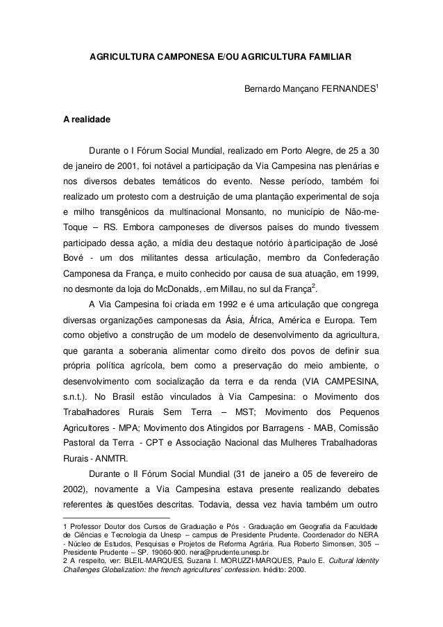 AGRICULTURA CAMPONESA E/OU AGRICULTURA FAMILIAR                                                  Bernardo Mançano FERNANDE...
