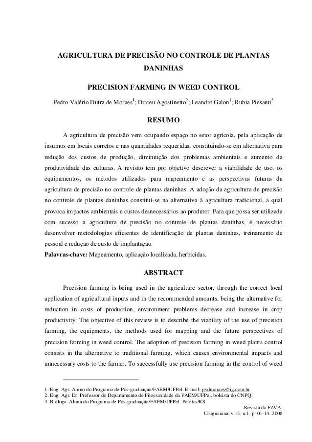 AGRICULTURA DE PRECISÃO NO CONTROLE DE PLANTAS                                            DANINHAS                   PRECI...