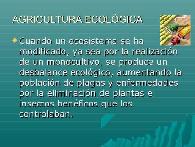 AGRICULTURA ECOLÓGICAAGRICULTURA ECOLÓGICA Cuando un ecosistema se haCuando un ecosistema se hamodificado, ya sea por la ...