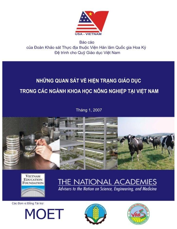 NHỮNG QUAN SÁT   VỀ HIỆN TRẠNG GIÁO DỤC            trong các Ngành Khoa học Nông nghiệp                         tại Việt N...