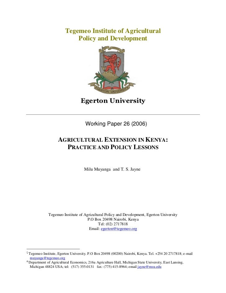 Tegemeo Institute of Agricultural                            Policy and Development                                     Wo...