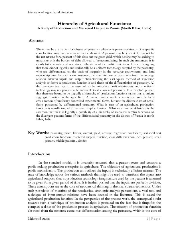 Hierarchy of Agricultural Functions  Hierarchy of Agricultural Functions: A Study of Production and Marketed Output in Pur...