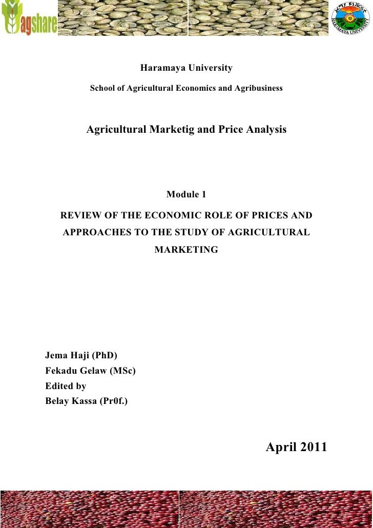 Agricultural Marketing and Price Analysis - Coffee