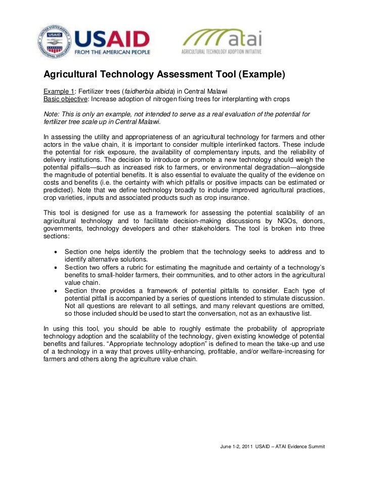 Agricultural Technology Assessment Tool (Example)Example 1: Fertilizer trees (faidherbia albida) in Central MalawiBasic ob...