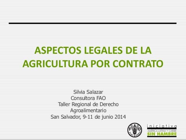 Aspectos legales de la agricultura por contrato