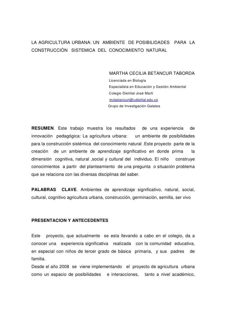 LA AGRICULTURA URBANA: UN AMBIENTE DE POSIBILIDADES                                PARA LA CONSTRUCCIÒN SISTEMICA DEL CONO...