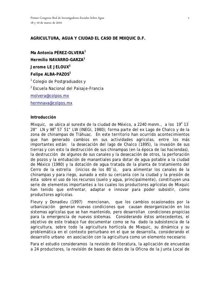 Primer Congreso Red de Investigadores Sociales Sobre Agua                        1 18 y 19 de marzo de 2010   AGRICULTURA,...