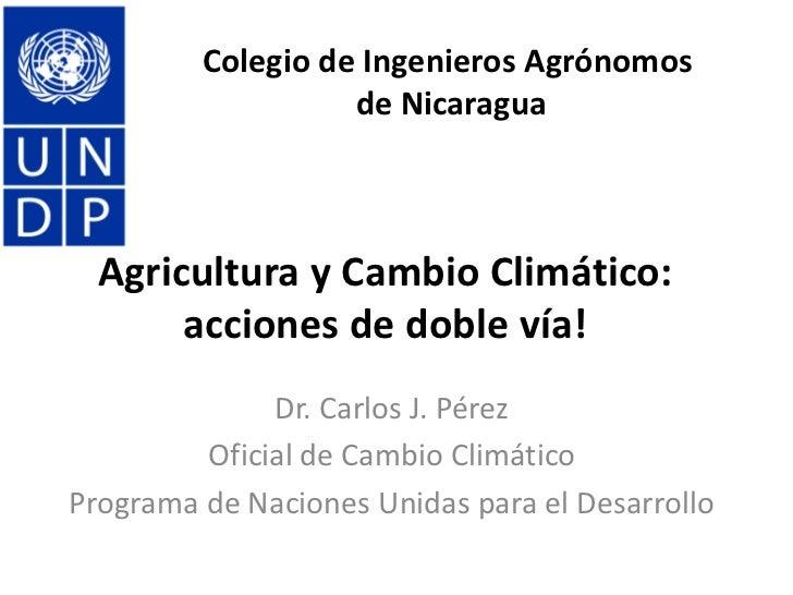 Colegio de Ingenieros Agrónomos                   de Nicaragua  Agricultura y Cambio Climático:       acciones de doble ví...
