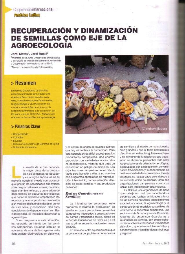 internacional Cooperación  Affi[ffi  Y RECUPERACIóN DINAMlz'AclóT.I  DE SEMILLAS COMO EJE DE LA AGROECOLOGIA Jordi Mateul,...