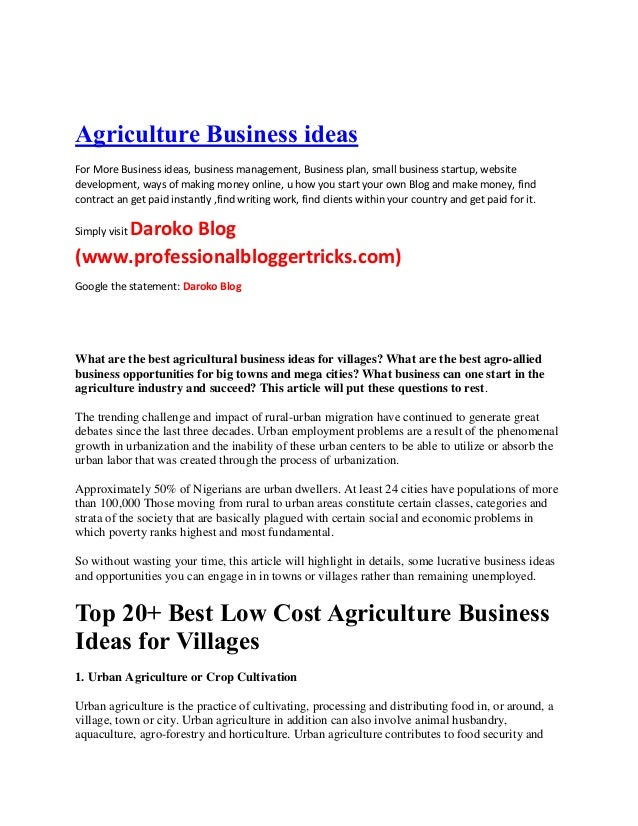 Business plan for agriculture