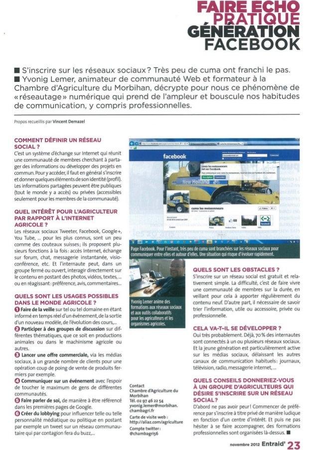 Agriculture génération facebook entraid novembre 2012