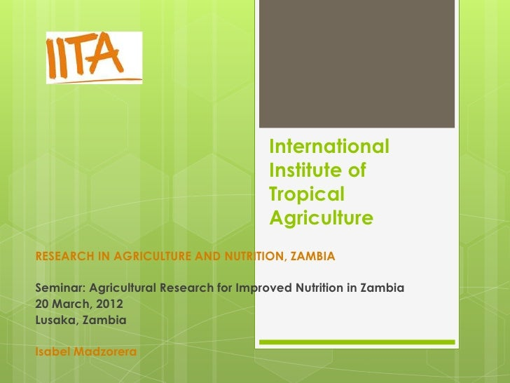 Research in Agriculture and Nutrition, Zambia