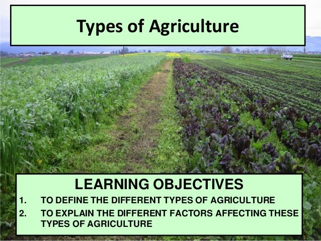 Types of Agriculture LEARNING OBJECTIVES 1. TO DEFINE THE DIFFERENT TYPES OF AGRICULTURE 2. TO EXPLAIN THE DIFFERENT FACTO...